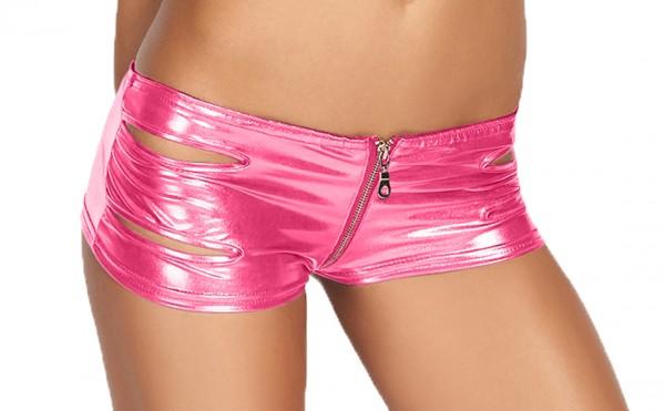 Damen Dessous wetlook Panty pink Gogo Slip Shorts mit Reißverschluss