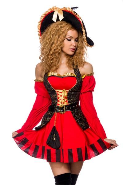 Damen Piraten Kleid Kostüm Verkleidung mit Weste, Gürtel, Hut und Armstulpen in schwarz rot Rüschen