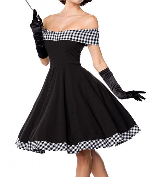 Schwarzes kurzes Swing Kleid im tiefem Schnitt mit Teilungsnaht und Tellerrock weiß kariert und schu
