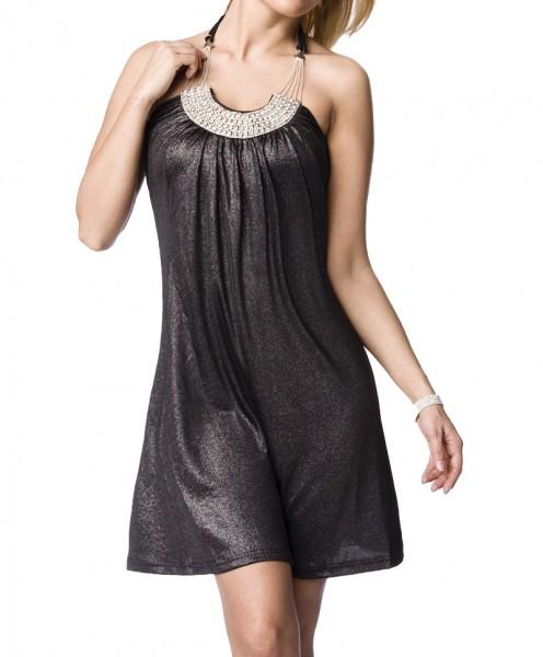 Silbernes Party Kleid mit Schmucksteinen aus weichem Material Damen Neckholder Sommerkleid S/M