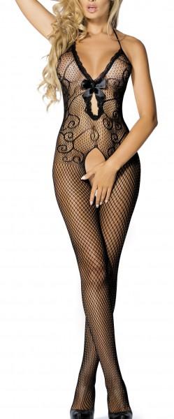 Schwarzer Damen Dessous Bodystocking Neckholder Nacht-Kleid aus Netz grobmaschig feinmaschig transpa