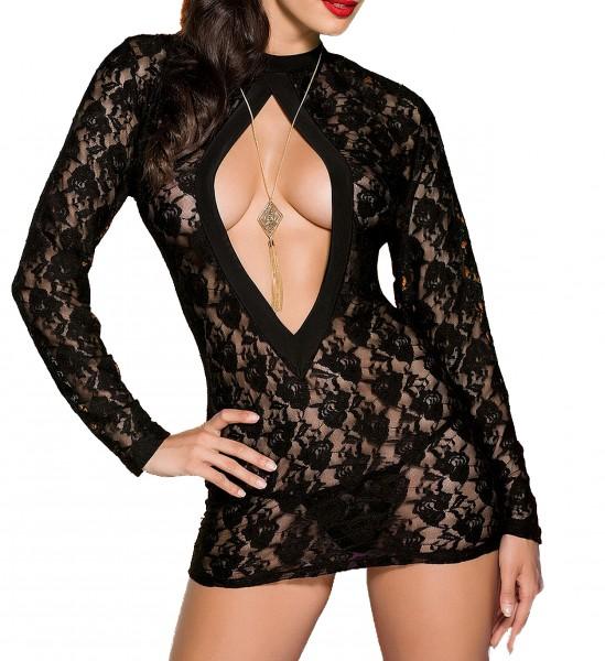 Schwarzes Minikleid mit tiefem Rückenschlitz und Schleife aus Spitze Neckholder Kleid inklusive Stri