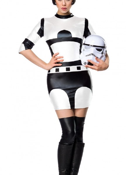 Damen Star Fighter Weltraum Kämpfer Kostüm Verkleidung mit Kleid und Maske in Wetlook Material glänz