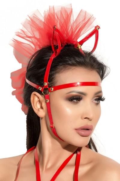 Damen Dessous fetisch Kopfmaske Maske Kopf-Schmuck in rot