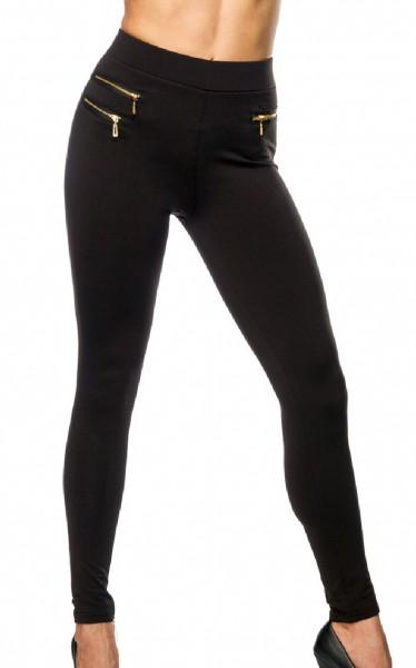 Schwarze Damen Leggings mit goldenen Reißverschlüssen und aufgesetzten Taschen enge Stoffhose