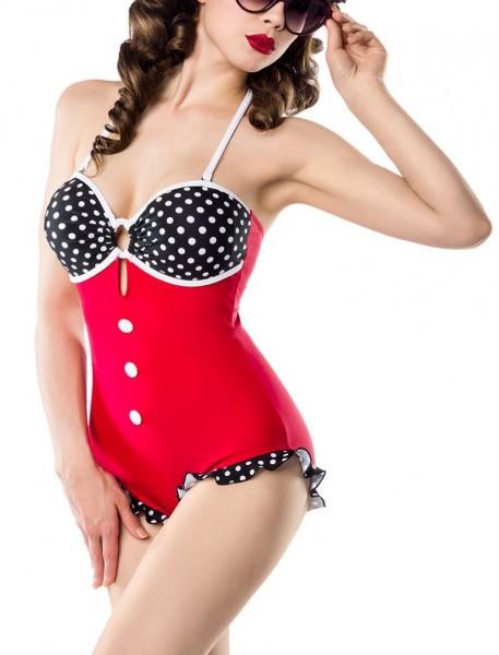 Damen Vintage Badeanzug gepunktet im Marine-Look schwarz rot weiß mit Rüschen und Formbügel vorn Ret