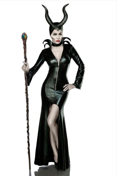 Damen Teufel Kostüm Verkleidung aus Kleid, Halsband, Hörnermaske Teufelin in schwarz