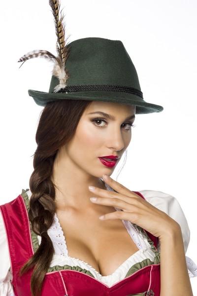 Grüner Damen Filzhut Trachtenhut mit Kordel und Federn Oktoberfest Verkleidung