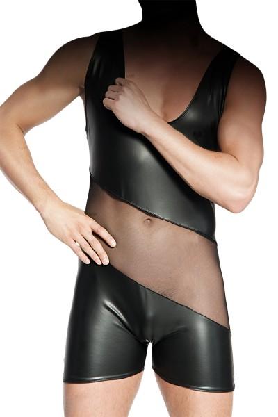Schwarzer Herren-Body aus wetlook Material erotisch dehnbar mit Tüll