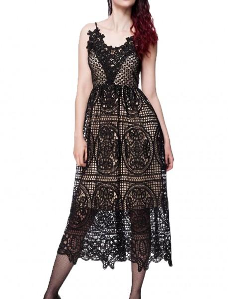 Erotisches Damen Spitzenkleid langes-Kleid und Spitze in Jersey schwarz unterlegt elastisch