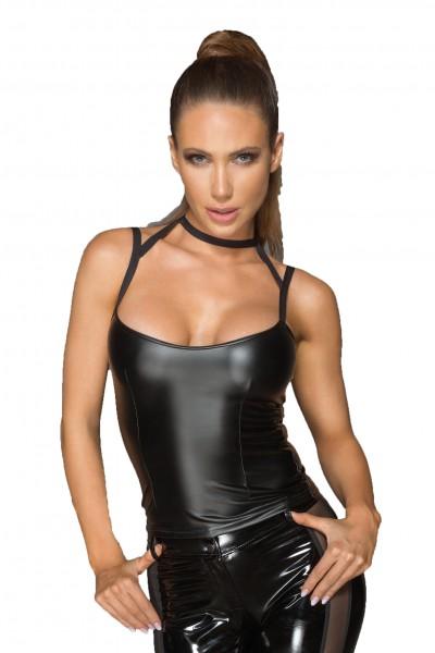 Schwarzes wetlook Damen Top mit Choker erotisches Gogon Träger Hemdchen mit Halsband matt