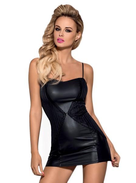 Schwarzes Dessous wetlook Minikleid glänzend elastisch Abendkleid Gogokleid mit String in schwarz