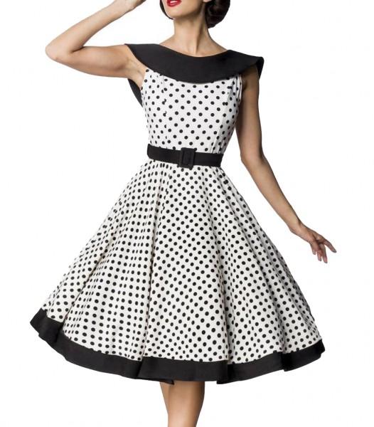 Weißes knielanges Swing Kleid im High Waist Schnitt mit Gürtel und Carmen-Ausschnitt Vollglocke und