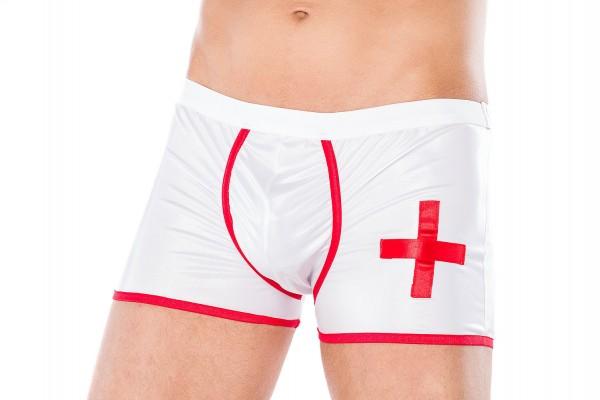 Männer Dessous Doktor Boxer-Short Arzt Shorts rot weiß aus wetlook Material