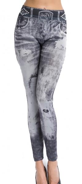 Graue Jeans Leggings mit Flicken und Gürtel Print und Waschung Design Taschen Druck elastische Leggi