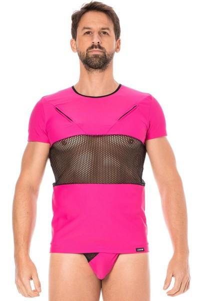 Herren T-Shirt in magenta mit schwarzem Netzeinsatz Männer Dessous Shirt elastisch kurzarm