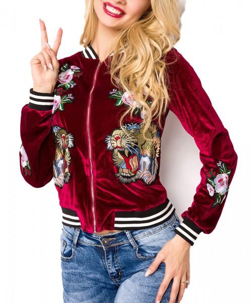 Rote kurze Samt Blouson Jacke mit langen Ärmeln und Tiger sowie Blumenmuster Metallreißverschluss vo