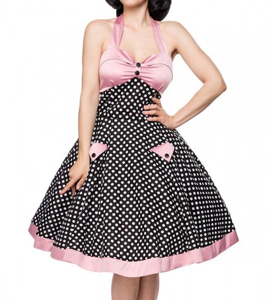 Schwarz rosa ausgestelltes Rockabilly Kleid gepunktet mit Tellerrock als Neckholder zum binden Stoff