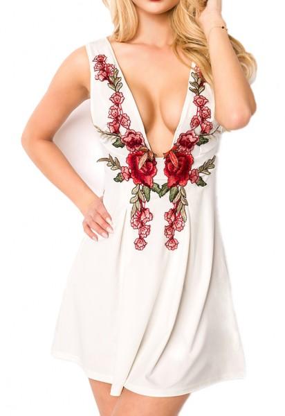 Weißes kurzes A-Linie Kleid mit Tiefem-Ausschnitt in Rosen Muster Optik und Metallreißverschluss hin
