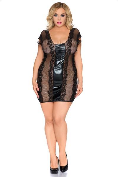 Erotisches schwarzes Damen Dessous Wetlook Chemise mit Spitze XXL Negligee Minikleid halbtransparent