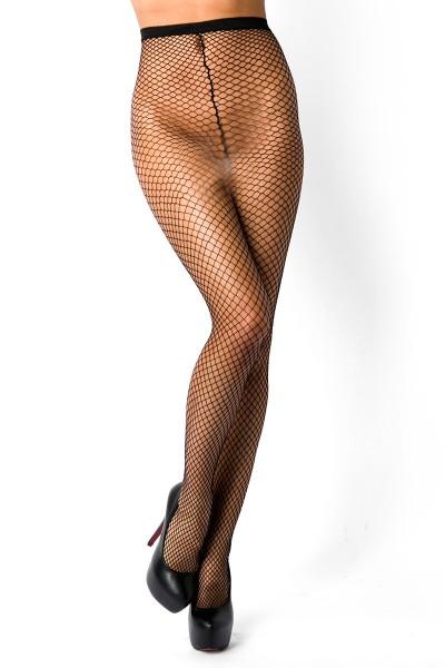Lange schwarze Netzstrumpfhose mit Muster aus Spitze transparent grobmaschig