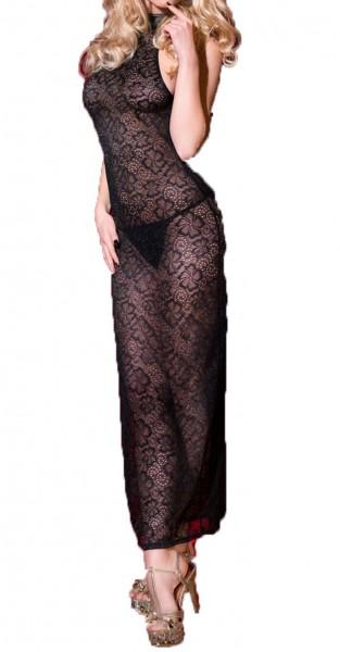 Damen Dessous Babydoll in schwarz aus Spitze Neckholder Negligee transparent mit String