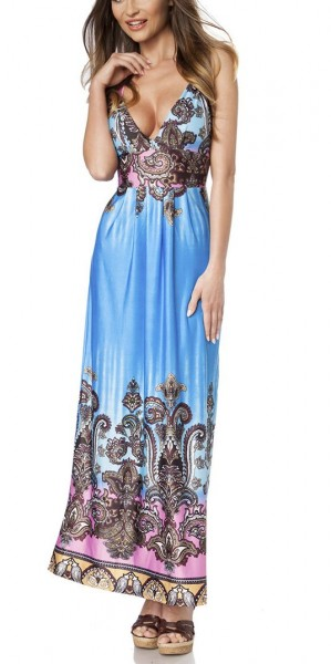 Maxikleid luftig Damen Sommerkleid in bunt mit Muster Paisley-Design Push Up Kleid