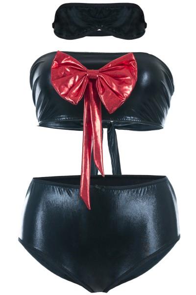 Schwarzes Wetlook Dessous Set mit Netz aus kurzem Top, Panty und Augenbinde Damen kurz XXL Plus Size