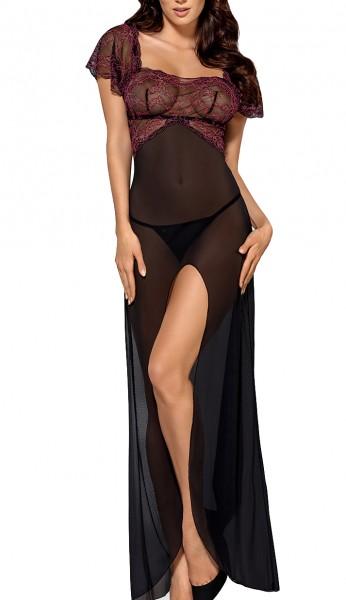 Damen Dessous Reizwäsche Negligee lang in schwarz fuchsia transparent mit kurzen Ärmeln und Spitze