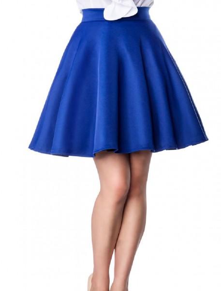 Blauer schwingender Tellerrock mit angesetztem Bund und Reißverschluss hinten knielang Rockabilly Ro