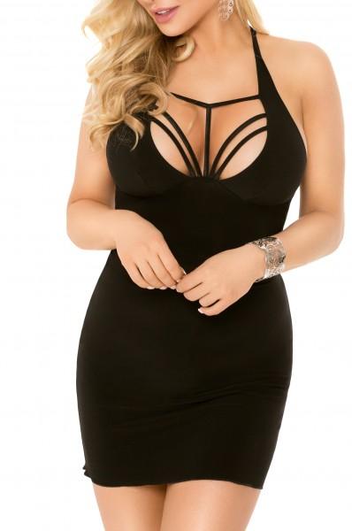 Schwarzes Damen Dessous Neckholder Mini Kleid Negligee aus blickdichtem Stoff und Bänder kurzes Klei