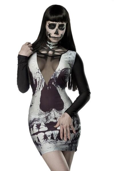 Schwarzes Damen Totenkopf Minikleid mit Totenkopf Print Faschingsverkleidung Outfit