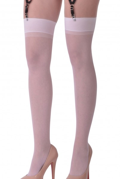 Dessous Straps Strümpfe aus weichem Material und Netz in weiß Stockings mit Clip für Strapshalter Bä