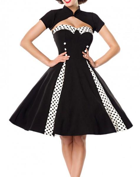 Ausgestelltes Rockabilly Kleid mit Stehkragen und abnehmbaren Bolero Stoffknöpfe und Rückenausschnit