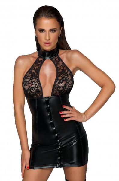 Schwarzes Neckholder wetlook Kleid mit durchgehender Knopfleiste und Spitze Dessous Minikleid