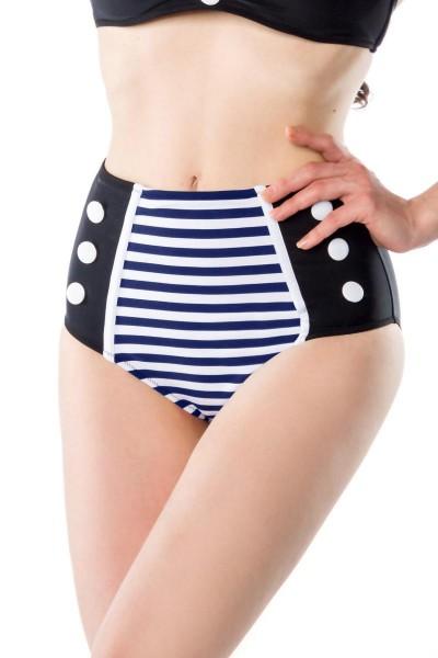 Retro Vintage Damen Bikinihöschen gestreift schwarz blau weiß mit Knöpfe High-Waist Bademode Marine
