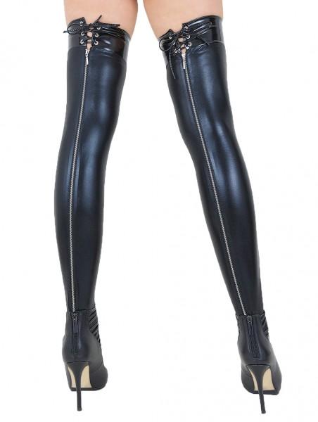 Halterlose Damen Dessous Wetlook-Strümpfe mit Schnürung und Reißverschluss in schwarz