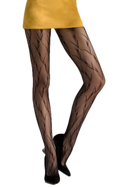 Schwarze Frauen Netz-Strumpfhose transparent mit Muster elastisch