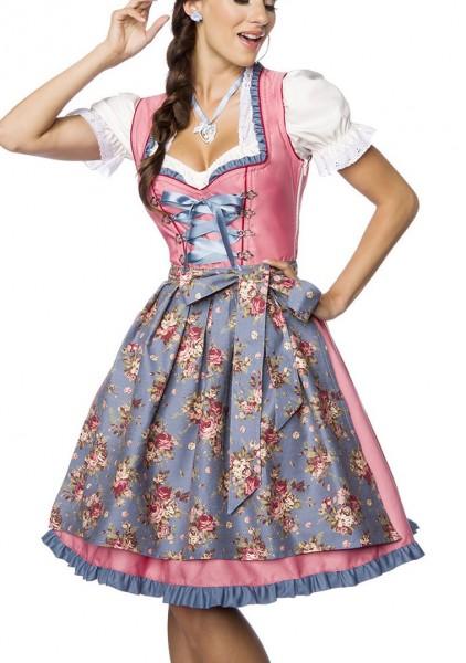Dirndl Kleid Kostüm mit Herzausschnitt und Schnürung und Schürze aus Denim Stoff und Spitze Oktoberf