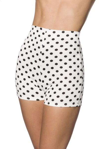 Weiß enge Shorts mit schwarzen Punkten enge High Waist-hose mit Nahtreißverschluss Hotpants