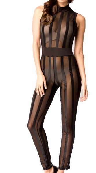 Schwarzer Damen Overall hochgeschlossen mit Reißverschluss, langen Ärmeln und gestreift transparent