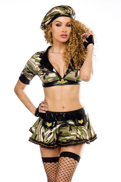 Damen sexy tarn Armee-Kostüm mit Top Rock Mütze Handschuhe und Stockings Roleplay Verkleidung