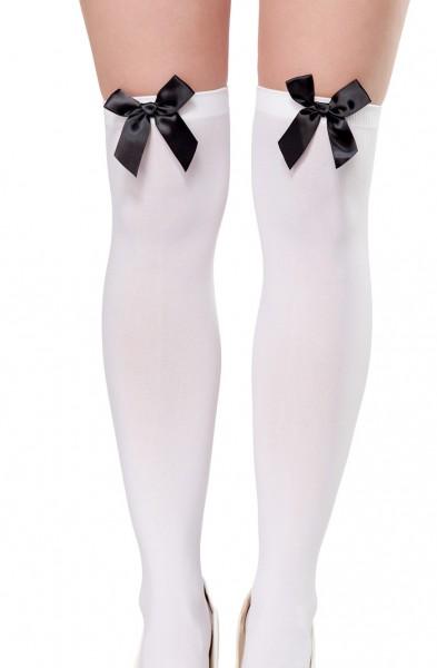 0cd3f69e72536b Halterlose weiße Strümpfe mit Satinschleife aus weichen dehnbaren Material  Stockings