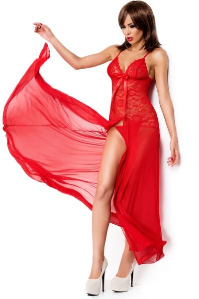 Langes Babydoll in rot Maxikleid Abendkleid mit floraler Spitze und String Dessous Nachtkleid mit Be