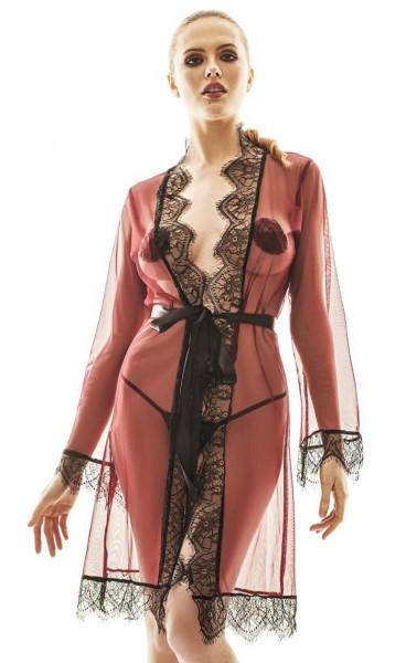 Roter Damen Dessous Morgenmantel Robe Babydoll aus Spitze und Netz zum binden mit String