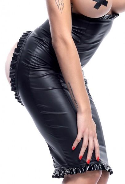 Damen Dessous fetisch wetlook Rock in schwarz dehnbar mit Reißverschluss und Po-Ausschnitt knielang