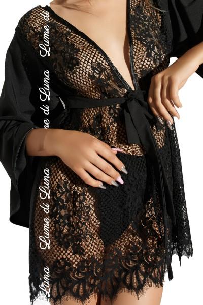 Schwarzer erotischer Damen Dessous Kimono Nacht-Kleid blickdicht aus Netz und Spitze mit Gürtel