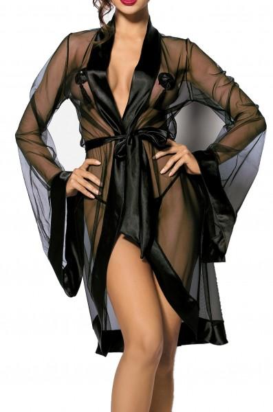 Schwarzes mit Fledermausärmel Kimono aus Tüll und Satin mit Ausschnitt und Satinband teiltransparent