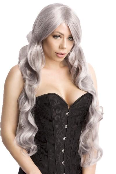 Graue Damen Langhaar Perücke Wig mit gewelltem Haar langes Pony Perücke Verkleidung