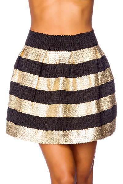 Schwarzer ausgestellter Minirock mit goldenen Streifen dehnbarer Sommerrock gestreift